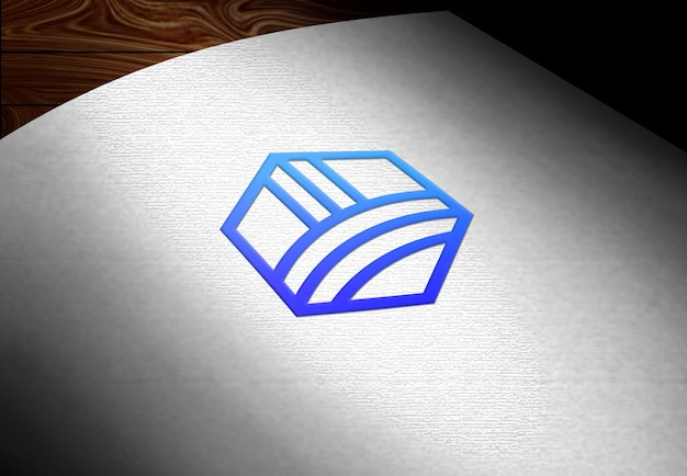 Mockup logo su carta bianca curva