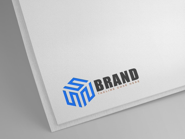 Logo mockup white paper sfondo pulito