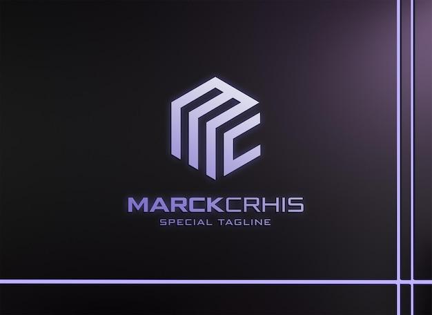 Mockup logo con effetto neon