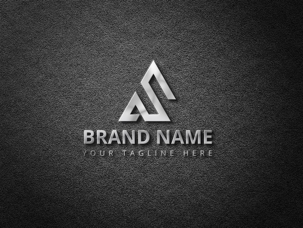 Logo mockup con logo 3d argento