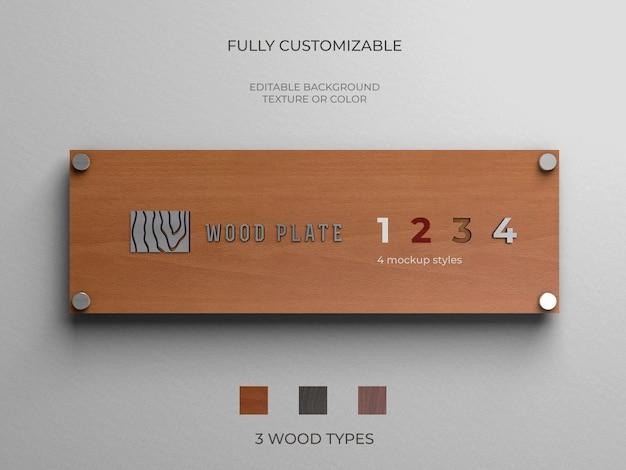 Mockup di logo su un piatto di legno con vari stili e tipi di legno