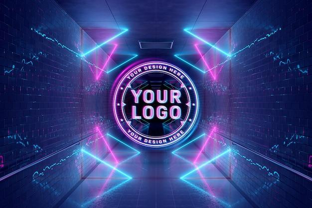 Logo in stile neon di proiezione in mockup sotterraneo