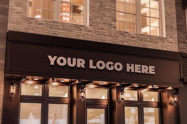 Logo negozio segno mockup negozio nero luce notturna