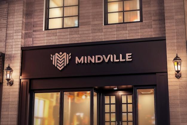 Logo negozio segno mockup realistico negozio nero luce notturna