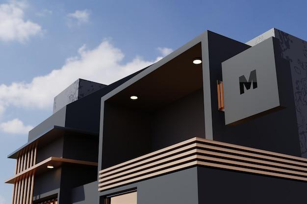 Logo segno mockup rettangolo segnaletica casella sulla facciata dell'edificio del negozio per uffici