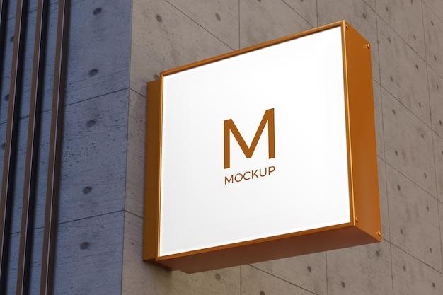 Logo segno mockup rettangolo segnaletica casella sulla facciata
