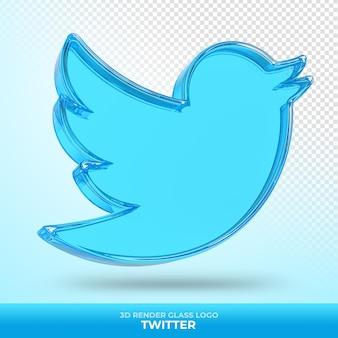 Logo twitter in vetro acrilico con rendering 3d trasparente