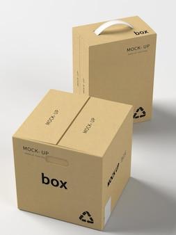 Mockup di imballaggi in cartone a blocchi lunghi e cubi di cartone