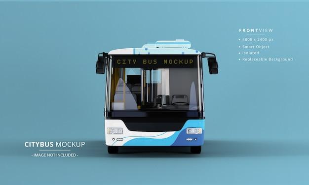Vista frontale del mockup del bus della città lunga