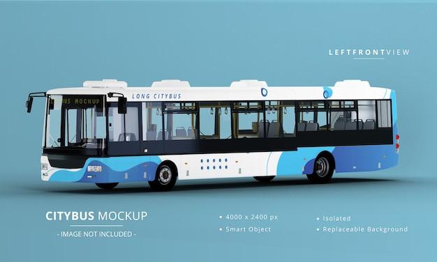 Vista frontale sinistra del mockup del bus della città lunga