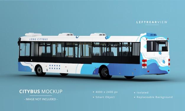 Vista posteriore sinistra del mockup del bus della città lunga