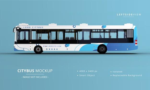 Vista laterale sinistra del mockup del bus della città lunga