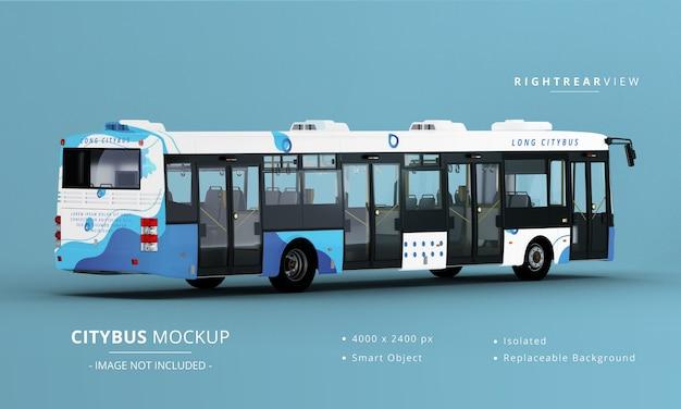 Vista posteriore destra del mockup del bus della città lunga