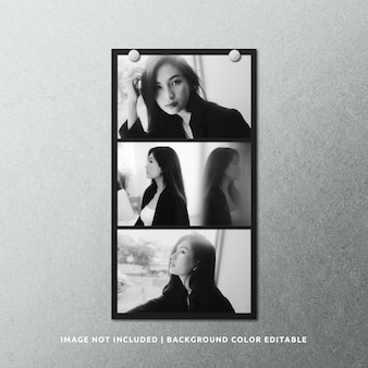 Mockup di cornice per foto in carta nera con paesaggio lungo