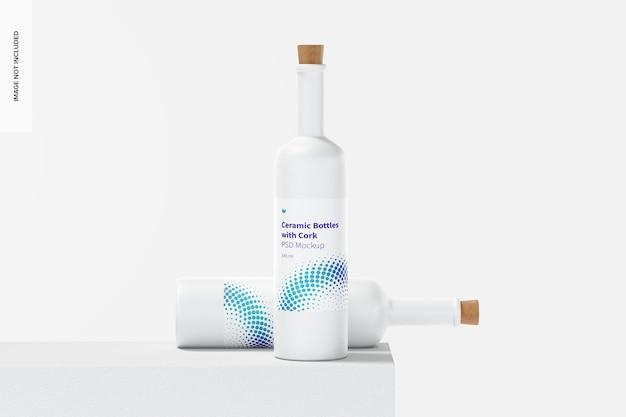 Bottiglie in ceramica a collo lungo con mockup di sughero