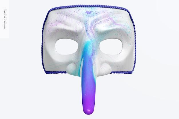 Mockup di maschera veneziana dal naso lungo, vista frontale