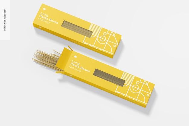 Mockup di scatole di pasta lunga, aperto e chiuso