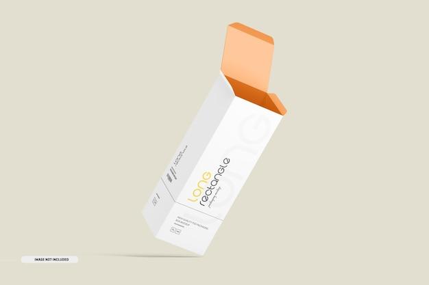 Mockup di imballaggio con scatola rettangolare lunga