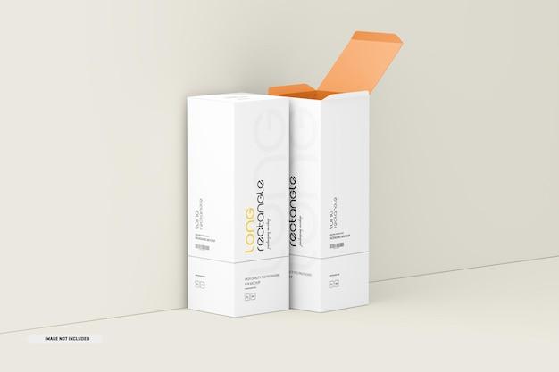Mockup di imballaggio di scatole rettangolari lunghe