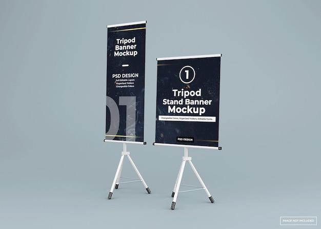 Mockup di supporto per banner treppiede lungo e corto
