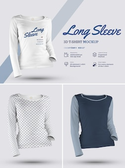 Maglietta manica lunga 3d mockup design è facile nella personalizzazione di immagini design tshirt maglietta e colore manica di tutti gli elementi trama erica thsirt