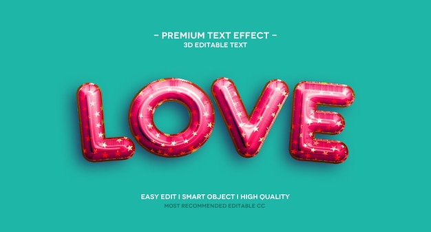 Modello di effetto testo 3d di amore
