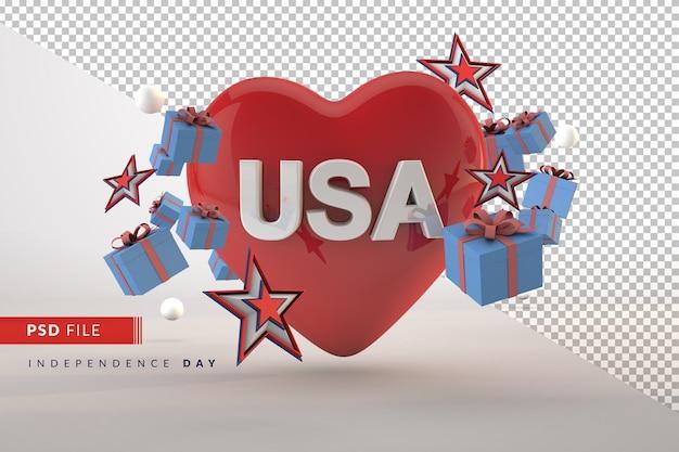 Amo il giorno dell'indipendenza della celebrazione dell'america per il rendering 3d isolato del 4 luglio