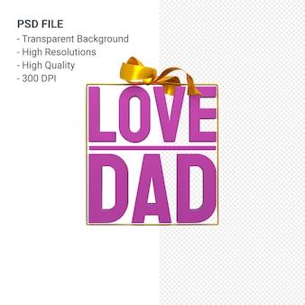 Amore papà con fiocco e nastro rendering 3d isolato