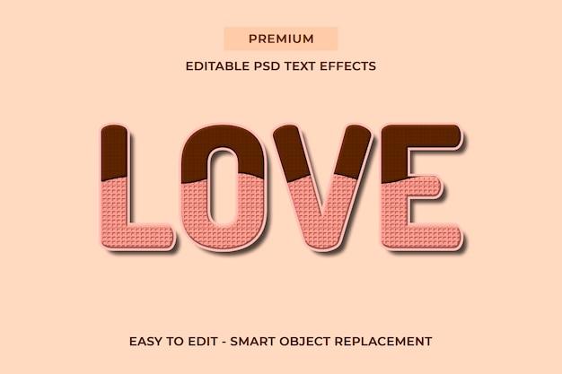 Amore - modelli psd di effetti di testo con deliziosi biscotti al cioccolato