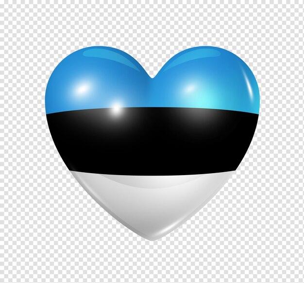 Icona di bandiera cuore 3d simbolo di amore estonia