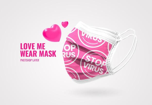 Love me wear maschera modello pubblicitario valentine mockup