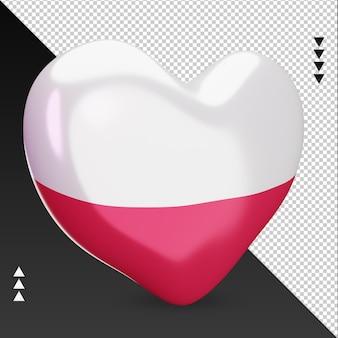 Amo la bandiera della polonia focolare 3d rendering vista a sinistra