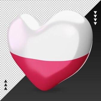 Amo la bandiera della polonia focolare 3d rendering vista giusta