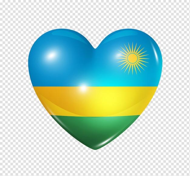 Amore ruanda simbolo 3d cuore bandiera icona isolato su bianco con tracciato di ritaglio
