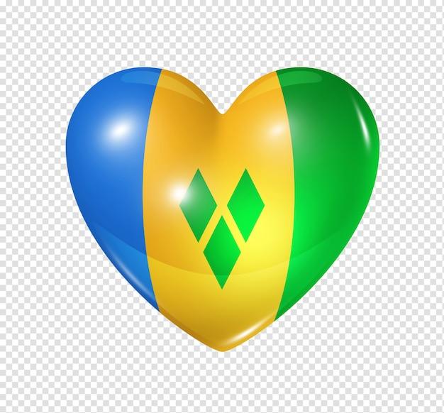 Amore saint vincent e grenadine simbolo 3d icona bandiera cuore isolato su bianco con percorso di clipping