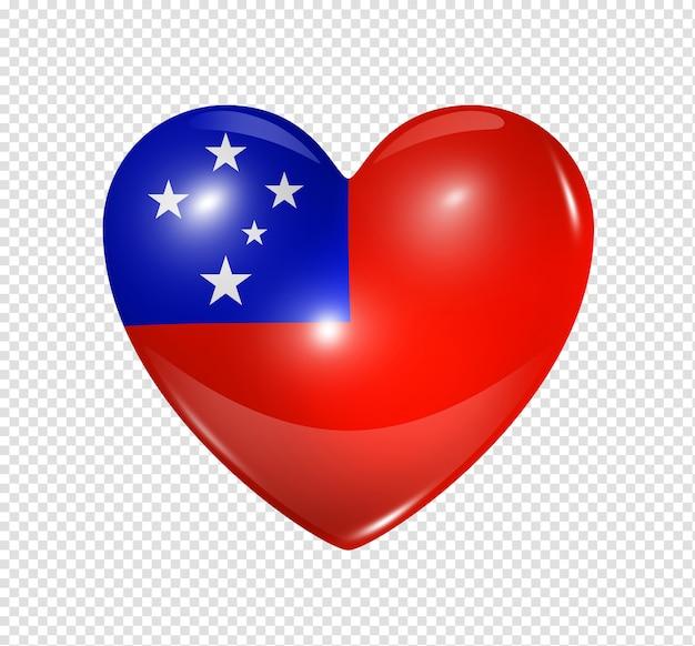 Icona della bandiera del cuore 3d simbolo di amore samoa isolato su bianco con il percorso di residuo della potatura meccanica