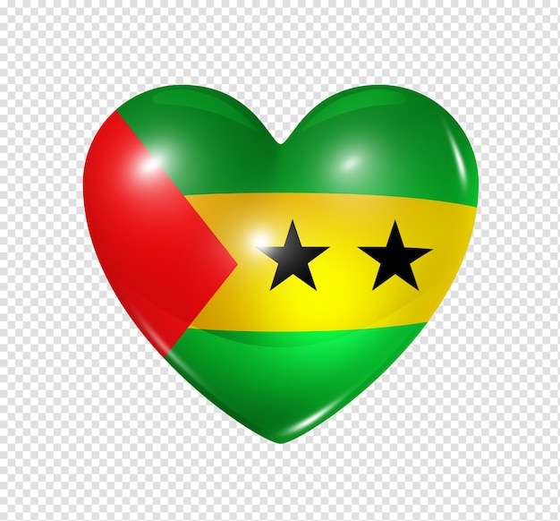 Icona della bandiera del cuore 3d di simbolo di amore di sao tome e principe isolato su bianco con il percorso di residuo della potatura meccanica