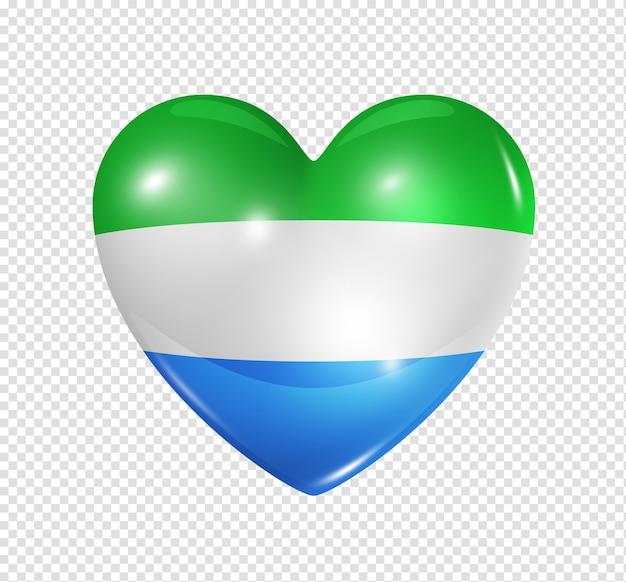 Amore sierra leone simbolo 3d icona bandiera cuore isolato su bianco con tracciato di ritaglio