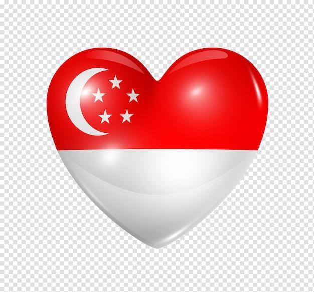 Icona della bandiera del cuore 3d di simbolo di singapore di amore isolato su bianco con il percorso di residuo della potatura meccanica
