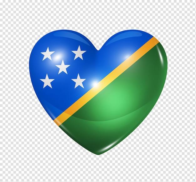 Icona della bandiera del cuore 3d di simbolo delle isole salomone di amore isolata su bianco con il percorso di residuo della potatura meccanica