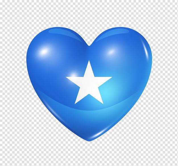 Amo l'icona della bandiera del cuore 3d di simbolo della somalia isolata su bianco con il percorso di residuo della potatura meccanica