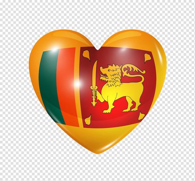 Icona della bandiera del cuore 3d di simbolo di amore dello sri lanka isolato su bianco con il percorso di residuo della potatura meccanica