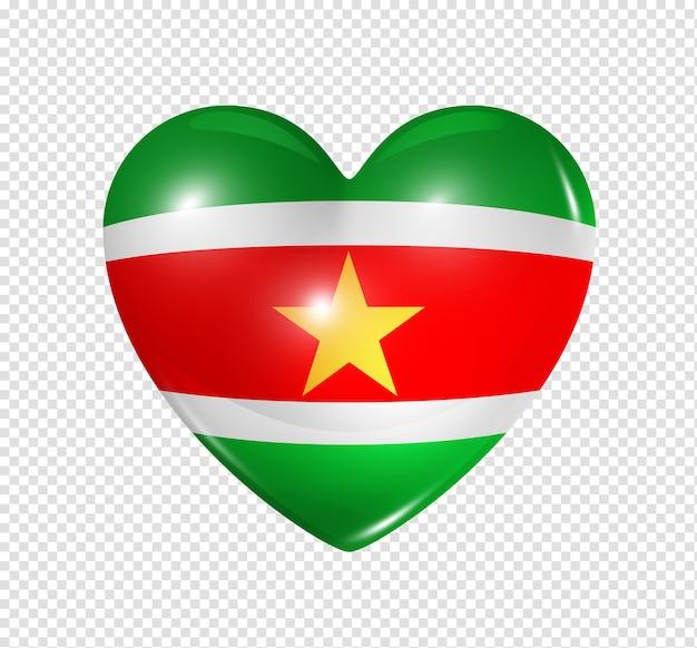 Icona della bandiera del cuore 3d di simbolo di amore del suriname isolato su bianco con il percorso di residuo della potatura meccanica