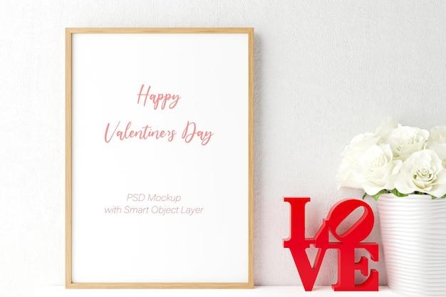 Amore e san valentino con mockup di cornice per foto