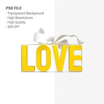 Parola di amore con fiocco e nastro rendering 3d isolato