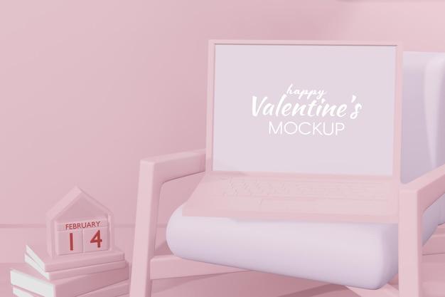 Concetto felice adorabile di giorno di biglietti di s. valentino nel modello della rappresentazione 3d