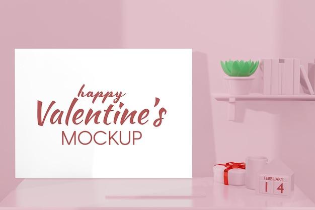 Bella camera felice giorno di san valentino con mockup di telaio in rendering 3d