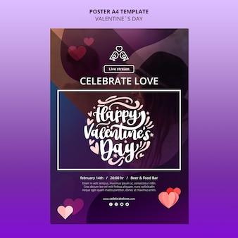 Modello di poster di san valentino adorabile con foto Psd Premium