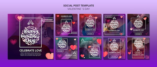 Incantevoli post sui social media di san valentino
