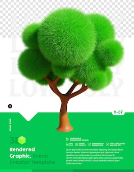 Rendering 3d albero basso poli